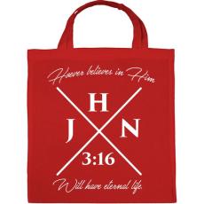 PRINTFASHION János 3:16 - Vászontáska - Piros