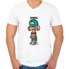 PRINTFASHION Játsszunk? - Férfi V-nyakú póló - Fehér