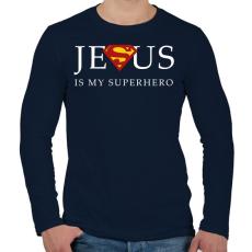 PRINTFASHION Jesus - Férfi hosszú ujjú póló - Sötétkék