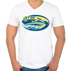 PRINTFASHION Jet-ski - Férfi V-nyakú póló - Fehér