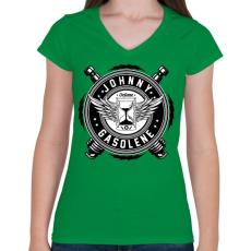 PRINTFASHION Johnny gasolene - Női V-nyakú póló - Zöld