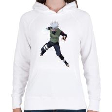 PRINTFASHION Kakashi - Női kapucnis pulóver - Fehér