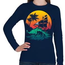 PRINTFASHION Kalózhajó a napnyugtában - Női hosszú ujjú póló - Sötétkék