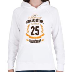 PRINTFASHION kamasz-25-brown-orange - Női kapucnis pulóver - Fehér