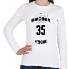 PRINTFASHION kamasz-35-black-white - Női hosszú ujjú póló - Fehér