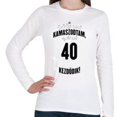 PRINTFASHION kamasz-40-black-white - Női hosszú ujjú póló - Fehér
