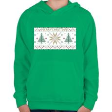 PRINTFASHION Karácsony mintázat - Gyerek kapucnis pulóver - Zöld