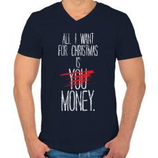 PRINTFASHION Karácsonyra szeretném... - Férfi V-nyakú póló - Sötétkék