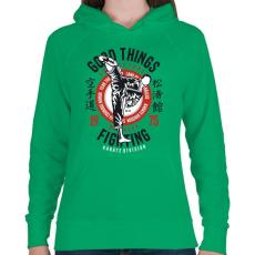 PRINTFASHION Karate divízió - Női kapucnis pulóver - Zöld