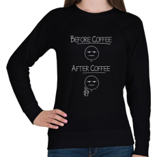 PRINTFASHION Kávé előtt, kávé után... - Női pulóver - Fekete