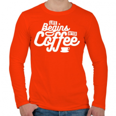 PRINTFASHION Kávé után kezdődik az élet  - Férfi hosszú ujjú póló - Narancs