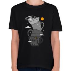 PRINTFASHION Kávéfüggő - Gyerek póló - Fekete