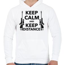 PRINTFASHION Keep calm and keep distance - Férfi kapucnis pulóver - Fehér