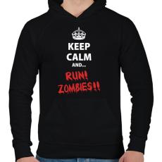 PRINTFASHION Keep calm and RUN! Zombies!! - Férfi kapucnis pulóver - Fekete