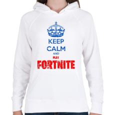 PRINTFASHION Keep Calm Fortnite - Női kapucnis pulóver - Fehér