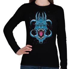 PRINTFASHION Kék ördög - Női hosszú ujjú póló - Fekete