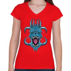 PRINTFASHION Kék ördög - Női V-nyakú póló - Piros