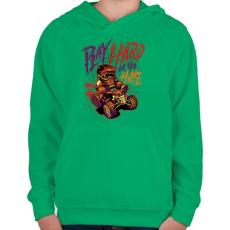 PRINTFASHION Kemény játék - Gyerek kapucnis pulóver - Zöld