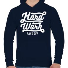 PRINTFASHION Kemény munka kifizetődő - Férfi kapucnis pulóver - Sötétkék