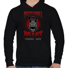 PRINTFASHION Kettlebell szörny - Férfi kapucnis pulóver - Fekete