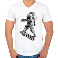 PRINTFASHION Kickflip in space - Férfi V-nyakú póló - Fehér
