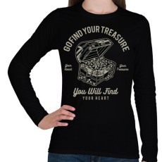 PRINTFASHION Kincsesláda - Női hosszú ujjú póló - Fekete