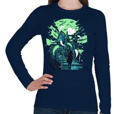 PRINTFASHION Kísértetház - Női hosszú ujjú póló - Sötétkék