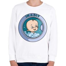 PRINTFASHION Kisfiú a mosógépben - Gyerek pulóver - Fehér