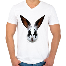 PRINTFASHION Kiss of a rabbit - Férfi V-nyakú póló - Fehér