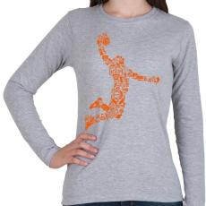 PRINTFASHION Kosárlabda játékos - Női hosszú ujjú póló - Sport szürke