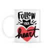 PRINTFASHION Kövesd a szíved - Bögre - Fehér