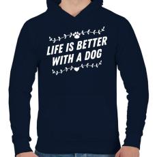 PRINTFASHION Kutyával jobb az élet - Férfi kapucnis pulóver - Sötétkék