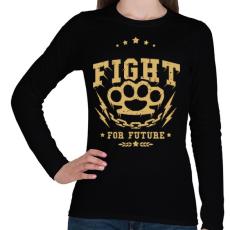 PRINTFASHION Küzdelem - Női hosszú ujjú póló - Fekete