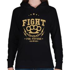 PRINTFASHION Küzdelem - Női kapucnis pulóver - Fekete női pulóver, kardigán