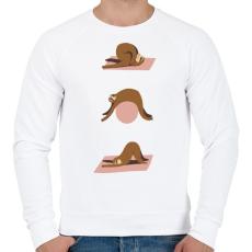 PRINTFASHION Lajhár jóga - Férfi pulóver - Fehér