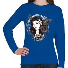 PRINTFASHION Lány és holló - Női pulóver - Királykék