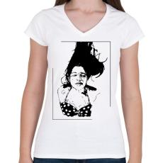PRINTFASHION Lebegés - Női V-nyakú póló - Fehér