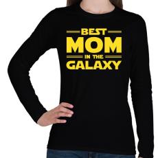PRINTFASHION Legjobb anya a Galaxisban - Női hosszú ujjú póló - Fekete