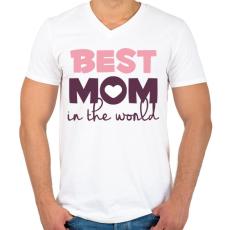 PRINTFASHION Legjobb Anyuka a világon - Férfi V-nyakú póló - Fehér