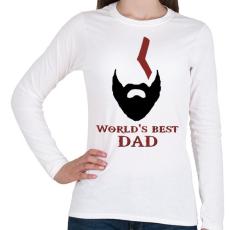 PRINTFASHION Legjobb Apa - Női hosszú ujjú póló - Fehér