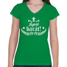 PRINTFASHION Legjobb barát - Női V-nyakú póló - Zöld