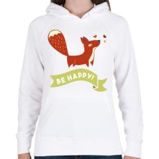 PRINTFASHION Légy boldog! - Női kapucnis pulóver - Fehér
