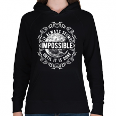 PRINTFASHION Lehetetlen - fehér szöveg - Női kapucnis pulóver - Fekete