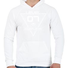 PRINTFASHION level-complete-07-white - Férfi kapucnis pulóver - Fehér