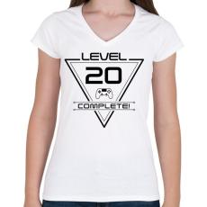 PRINTFASHION level-complete-20-black - Női V-nyakú póló - Fehér
