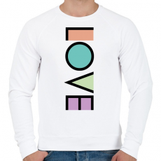 PRINTFASHION LOVE - Férfi pulóver - Fehér