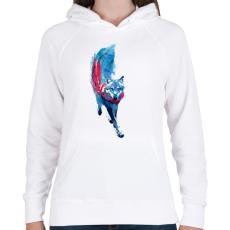 PRINTFASHION Lupus lupus - Női kapucnis pulóver - Fehér