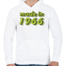 PRINTFASHION made-in-1966-green-grey - Férfi kapucnis pulóver - Fehér