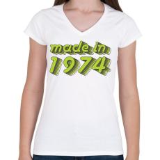 PRINTFASHION made-in-1974-green-grey - Női V-nyakú póló - Fehér