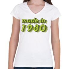 PRINTFASHION made-in-1980-green-grey - Női V-nyakú póló - Fehér